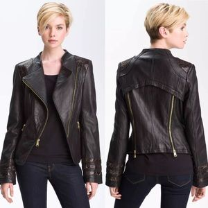 Bebe Moto Leather Jacket Snakeskin Embossed Trim